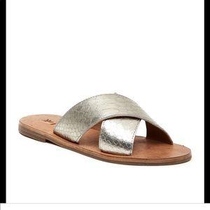 Frye Ally metallic criss cross sandals